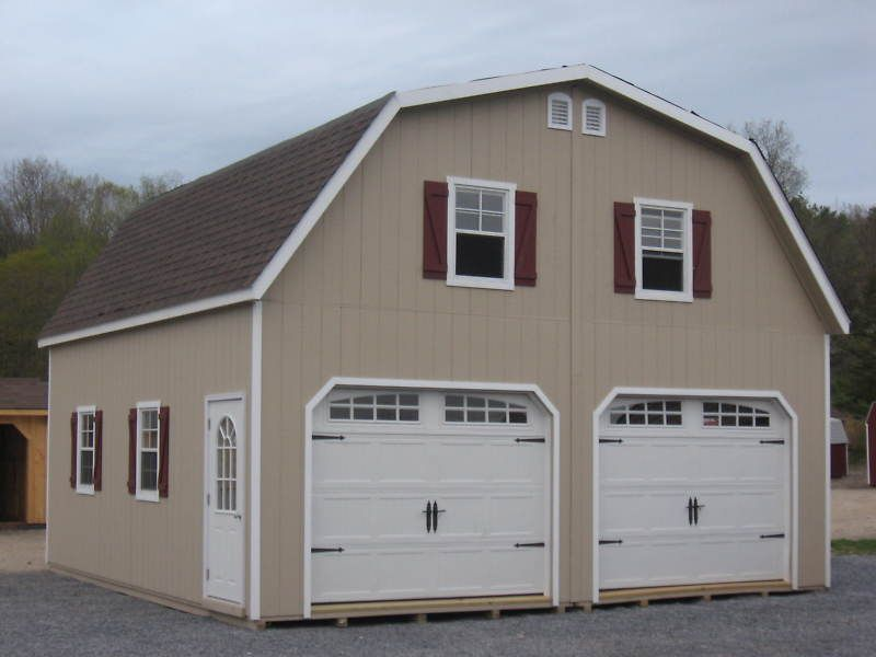 Amish 24 X 24 Double Wide Garage Gambrel Roof Structure Gambrel Roof Roof Structure Gambrel Barn
