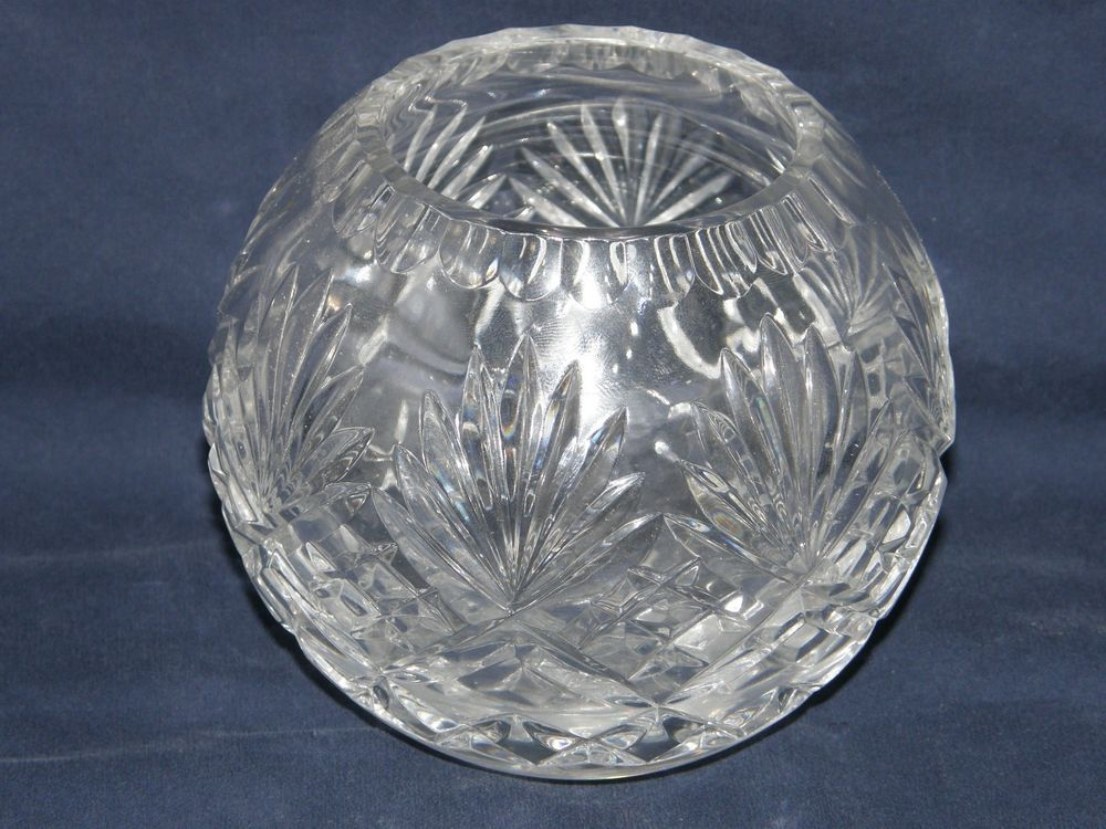 Stunning Lead Crystal Clear Starburst Pineapple Round Bowl Vase Lead Crystal Crystal Glassware Vase