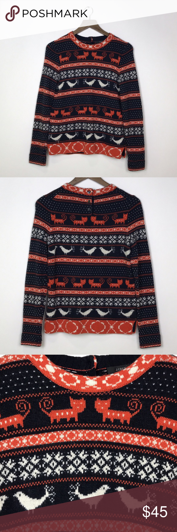 J Crew] Farmyard Fair Isle Sweater Cat Bird Rare | Navy, Cats and ...