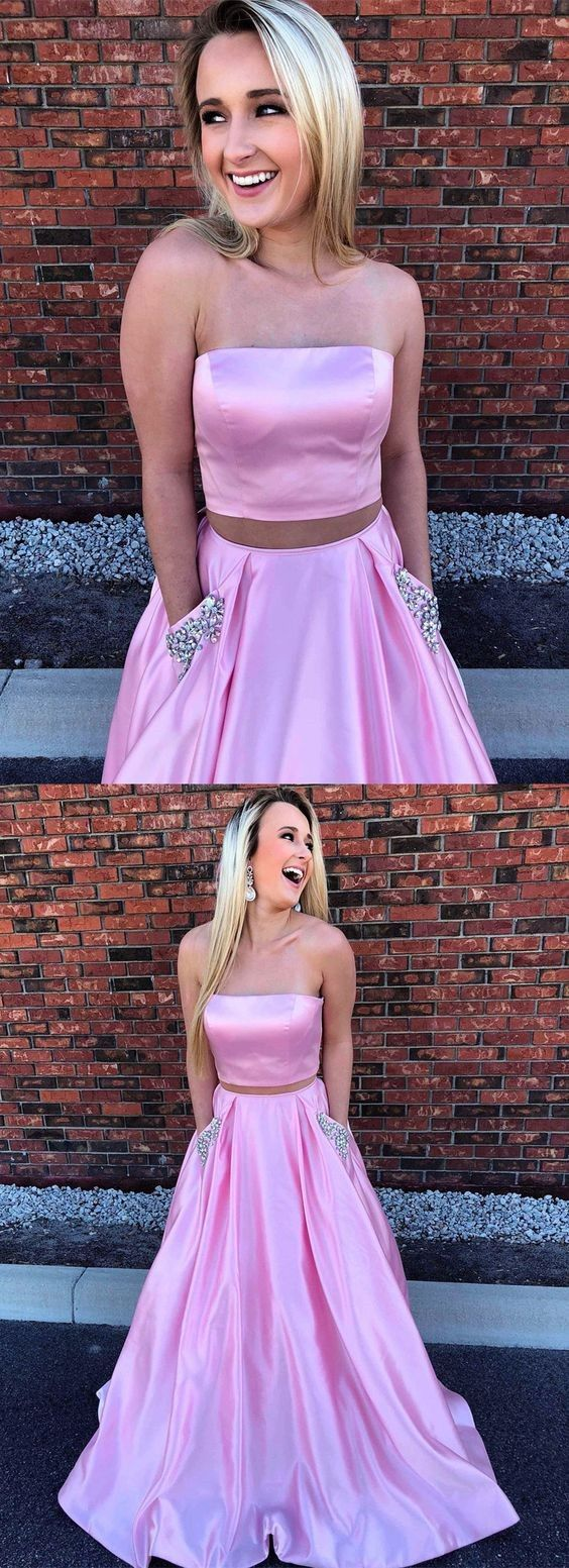 Two piece strapless pink satin prom dress with pockets beading
