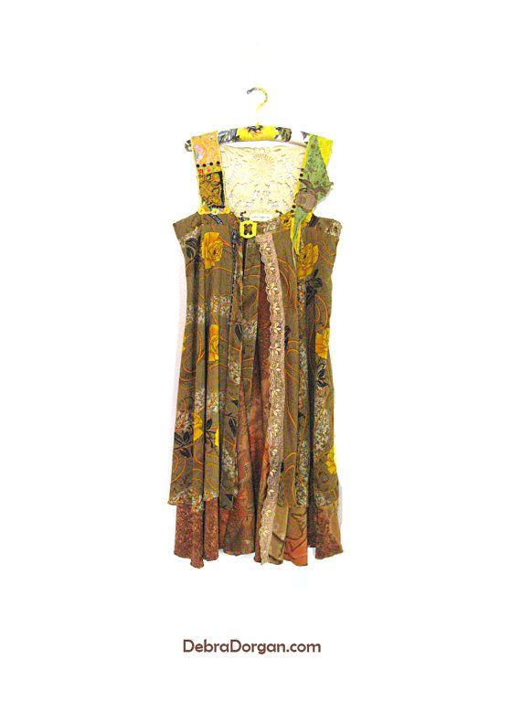 Yellow Floaty Silk & Lace Jacket Brown Mustard by AllThingsPretty