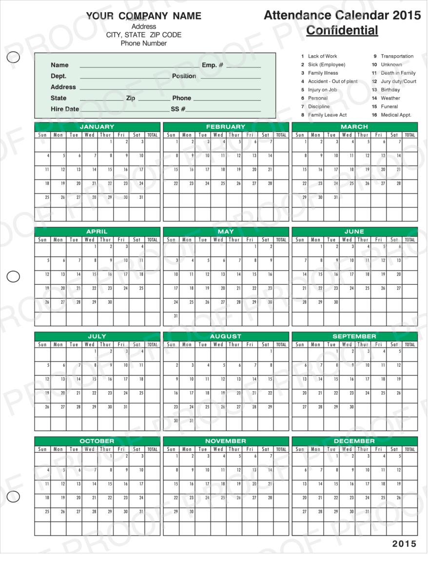 2021 Employee Attendance Calendar Vacation Calendar Human Resources Calendar Program