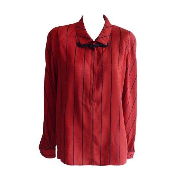 Pre-Owned 1980s Valentino Red Chevron Pattern With Navy Blue Trim Silk... ($190) ❤ liked on Polyvore featuring tops, blouses, red, silk blouse, red chevron blouse, red top, red blouse and red silk blouse