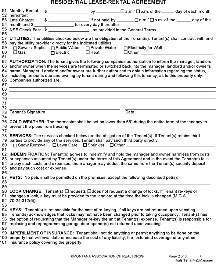 Montana Residential Lease Agreement Form Download Free Printable Legal Rent And Lease Template Form In Differe Lease Agreement Rental Agreement Templates Lease
