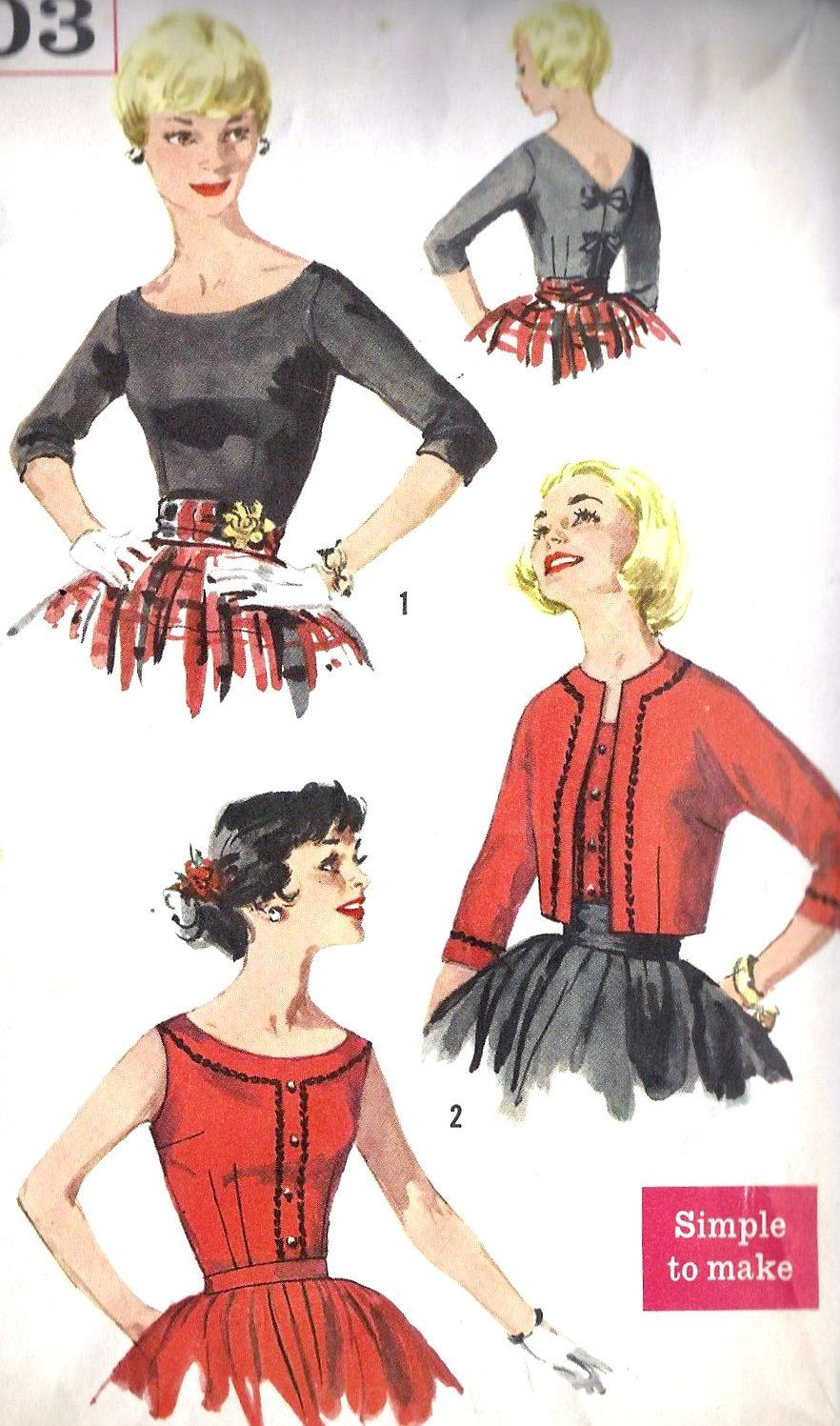 1950s Blouse and Jacket Vintage sewing pattern, Rockabilly Style ...