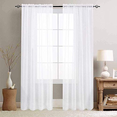 White Sheer Curtains For Living Room 84 Inch Length Windo