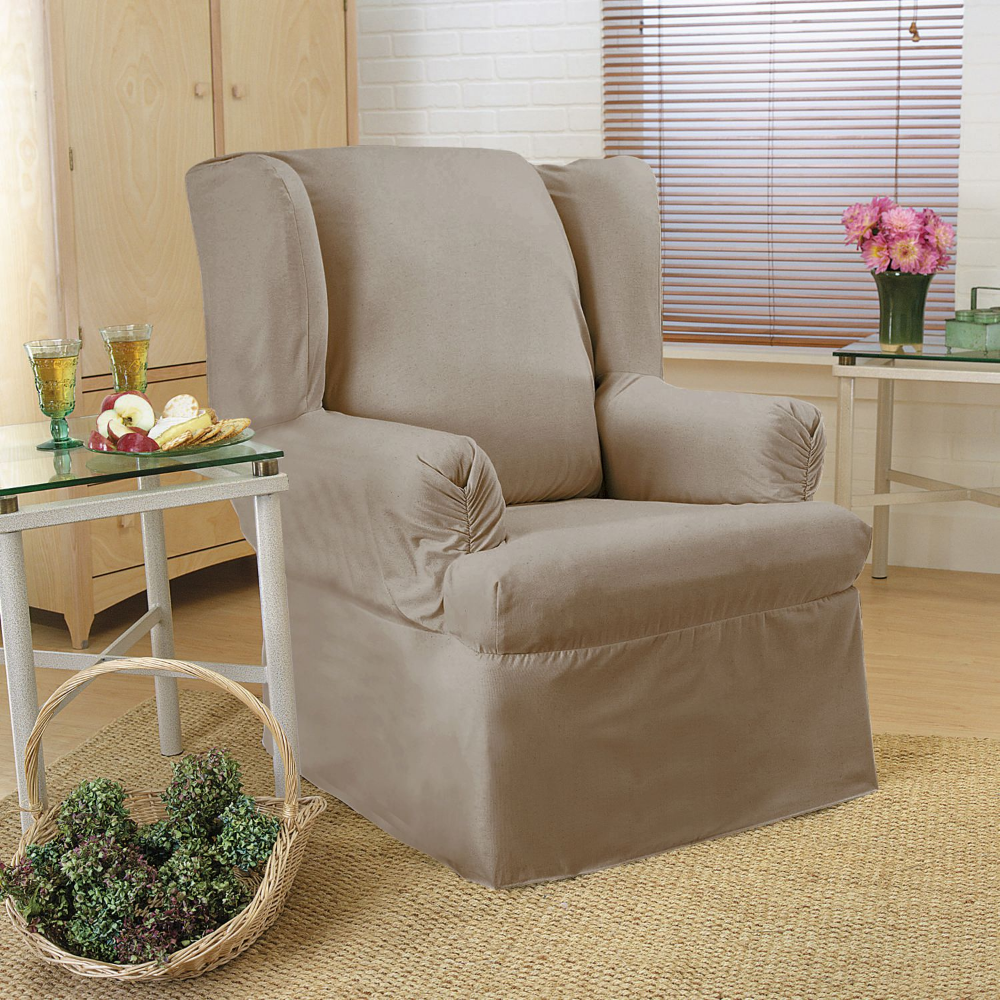Sure Fit Duck Relaxed Fit Wing Chair Slipcover Walmart