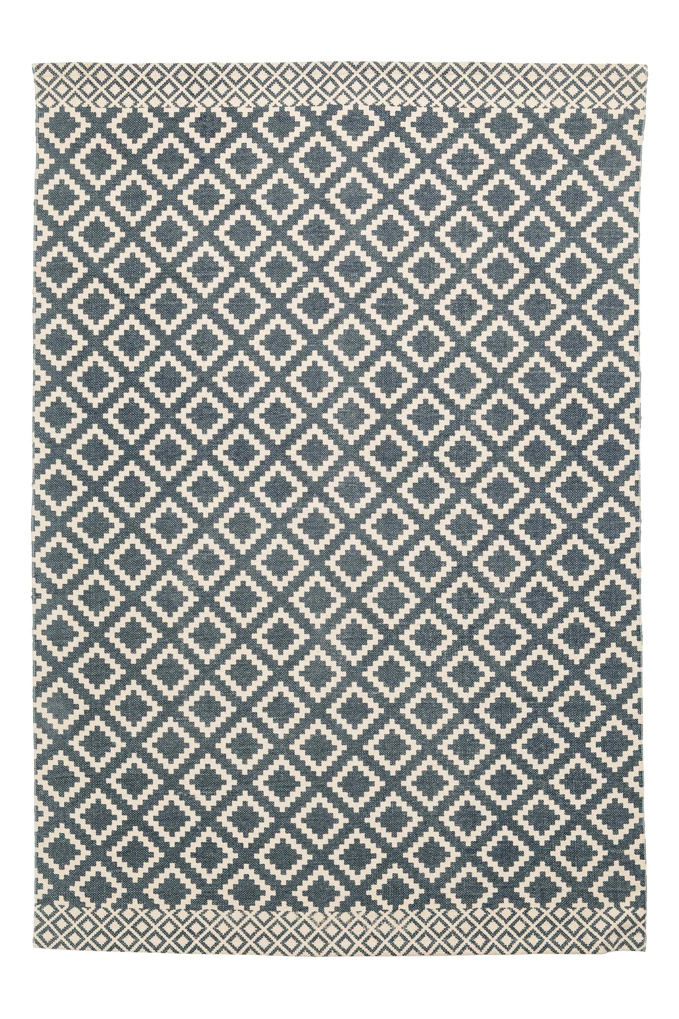 Patterned Cotton Rug Natural White Dark Blue Home All H M
