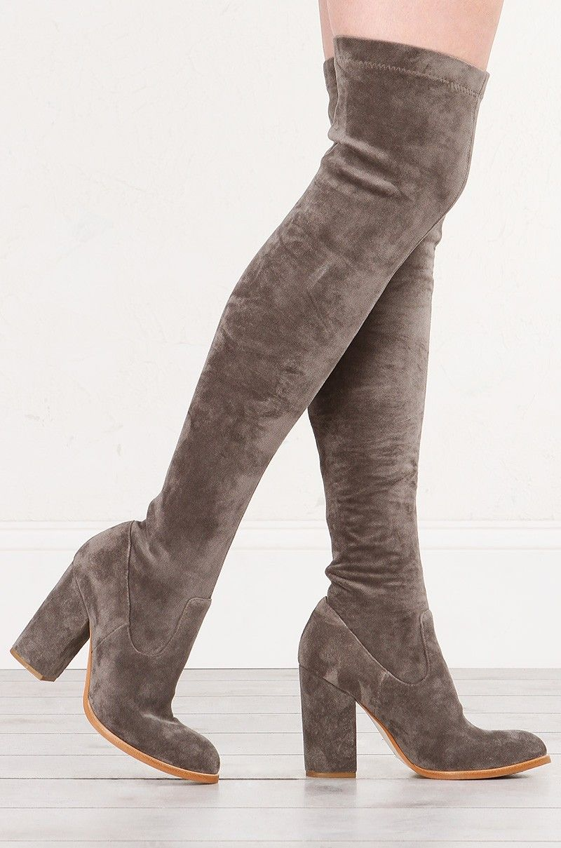 0b0238afd91c Side View SOL SANA Bella Suede Thigh High Boots With Block Heel in Grey