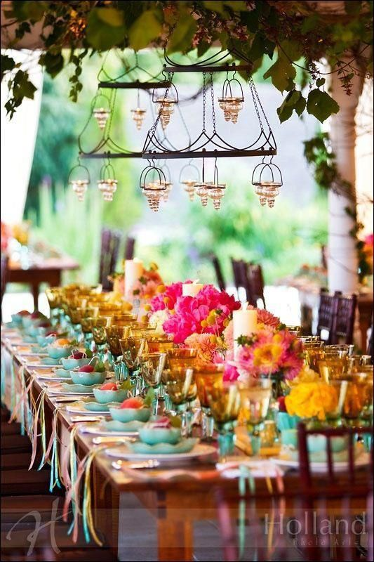 love the whole idea of community tables ...love the Middle Eastern/ Indian color palate... beautiful!