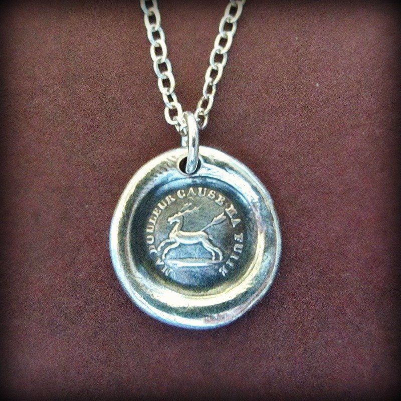 Endure I Will Go On French Proverb Wax Seal Necklace