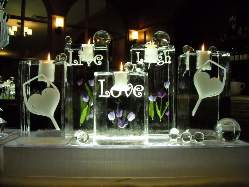 Live Laugh Love Wedding Theme Ice Sculptures By Iceculture Photo