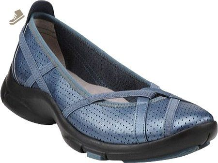 For us Leather Women's Flat Flats 7 Clarks denim P M Berry 6ybfg7