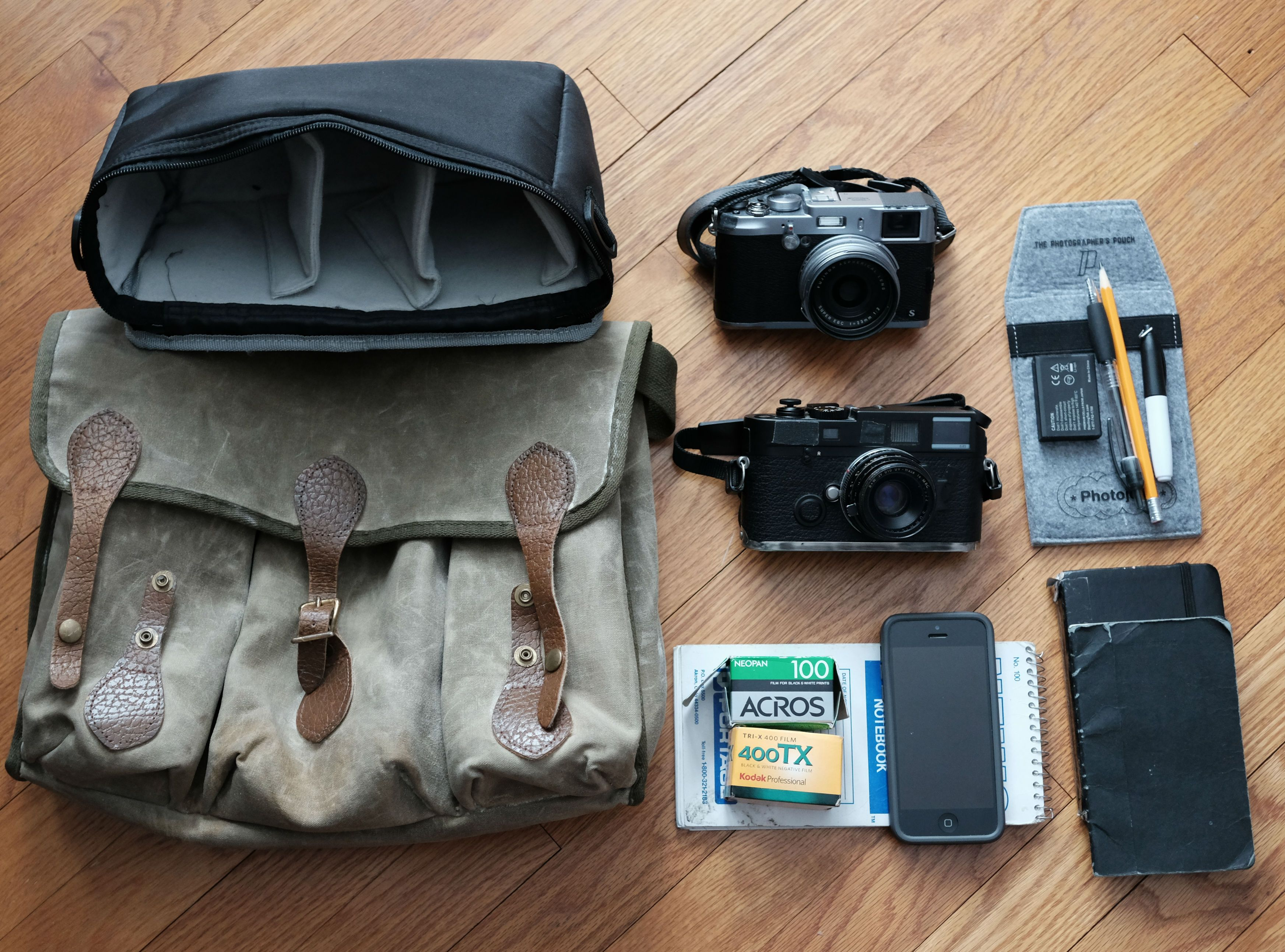 In My Bag  Leica M6 TTL with Summicron 35mm  Fujifilm X100S. The bag is an  old canvas Leitz camera bag that I hand-waxed to give the contents a  measure of ... ffe129445af64