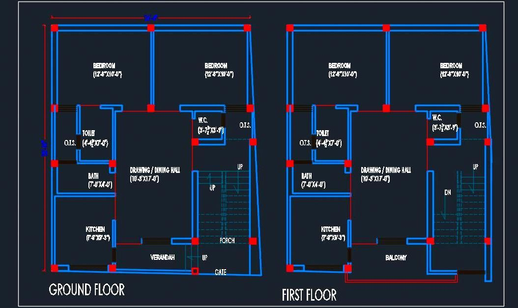 House Architectural Floor Layout Plan 25 X30 Dwg Detail One Floor House Plans Floor Layout Building Design Plan