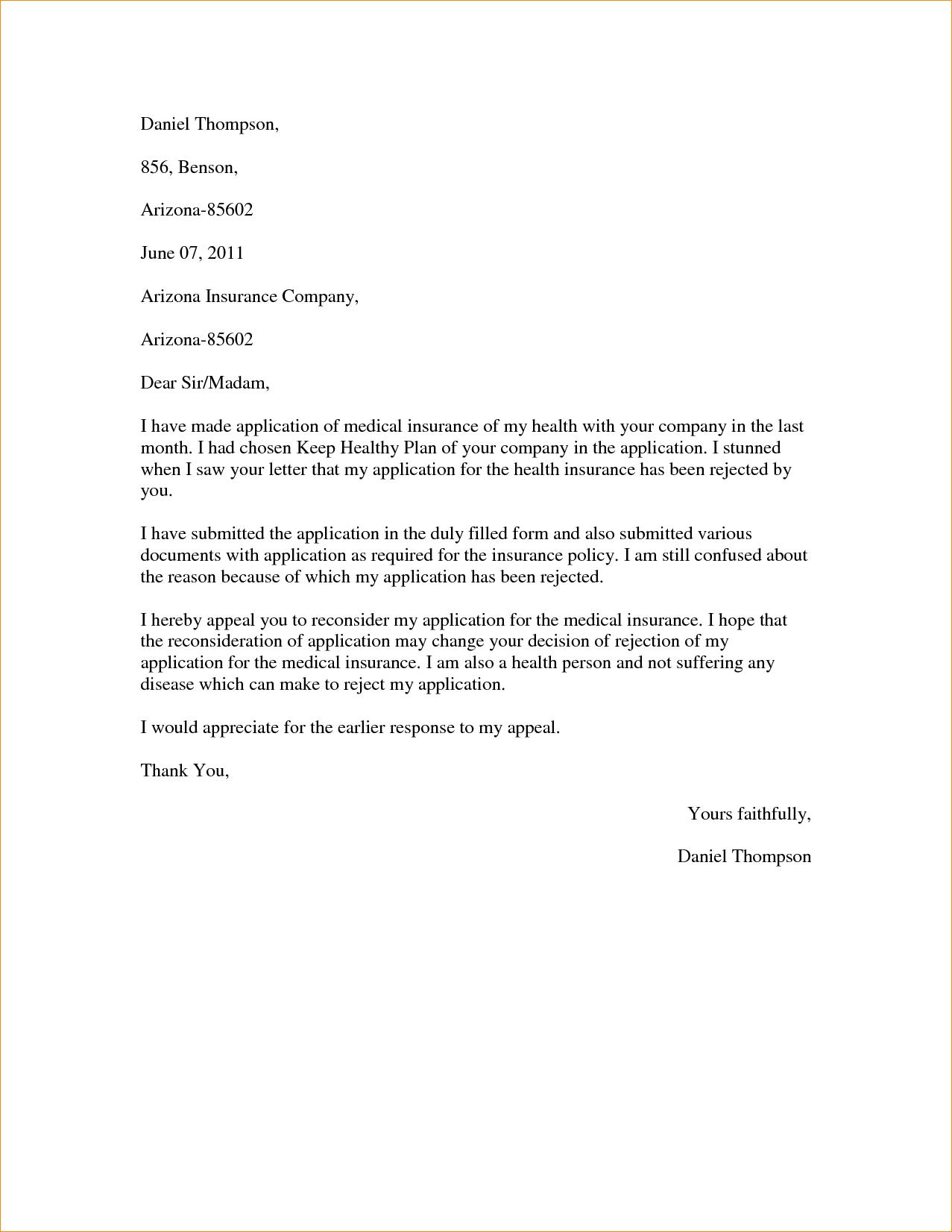 Sample Claim Appeal Letter Published Date October Insurance Denial