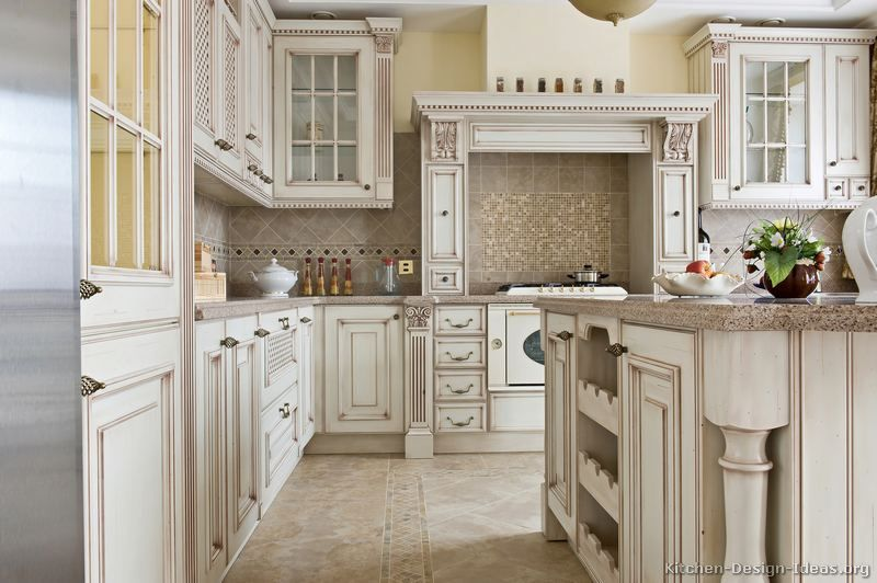 Antique Kitchen Island Ideas With Traditional Antique White Kitchen  Cabinets Luxury Wood Hood Island Splash