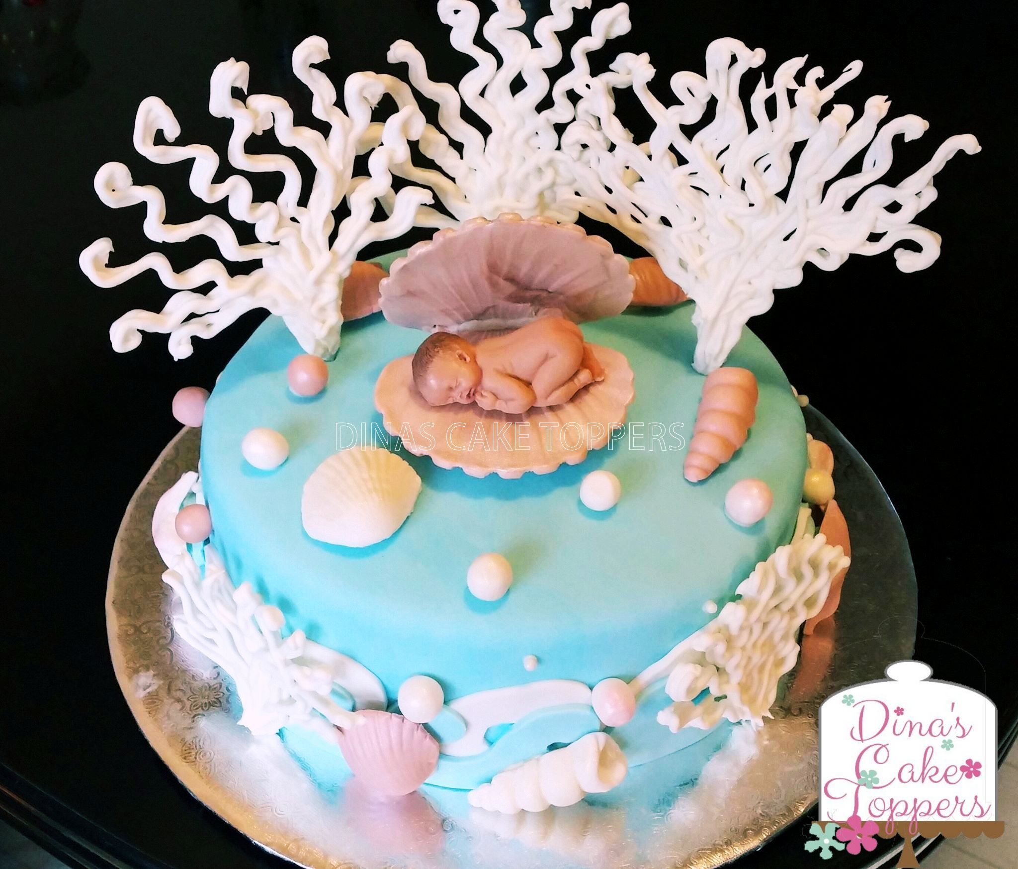 Under The Sea Clam Baby Shower Cake Pink Baby Shower Cake Baby Shower Cake Topper Baby Cake Topper