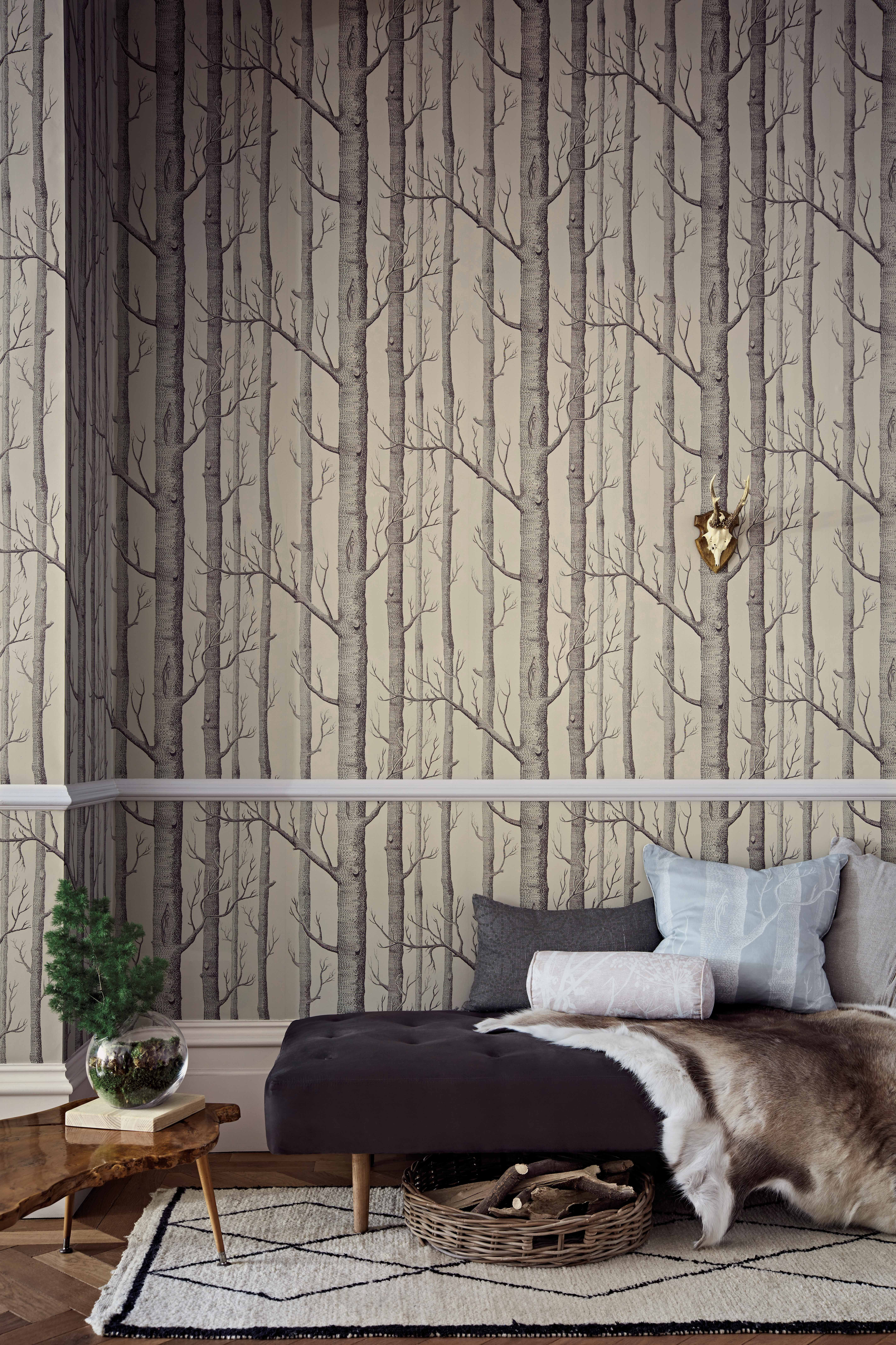 Cole and Son Woods Linen and Charcoal Wallpaper 1123009