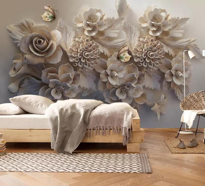 3d Floral Embossed Rose Bouquets Self Adhesive Removable Etsy Wall Wallpaper Wall Murals Custom Murals