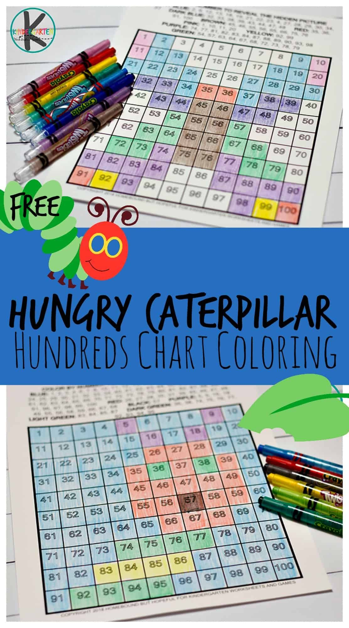 Very Hungry Caterpillar Hundreds Chart Coloring With