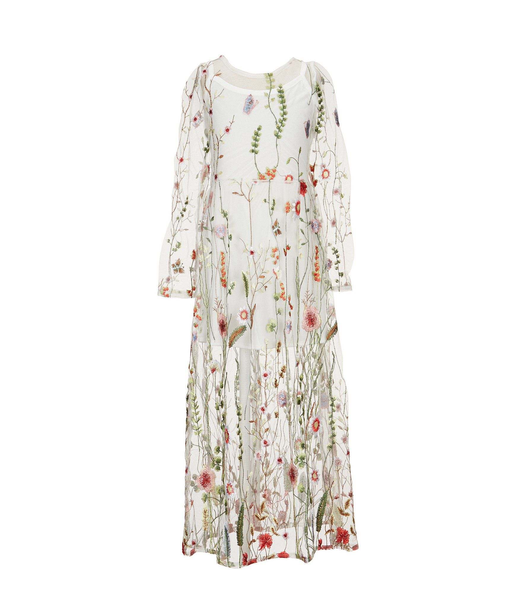 57bba59e539 Shop for Rare Editions Big Girls 7-16 Floral-Embroidered Mesh Maxi Dress at  Dillards.com. Visit Dillards.com to find clothing