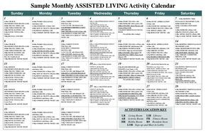 Sample Monthly Assisted Living Activity Calendar  Pdf  Nursing