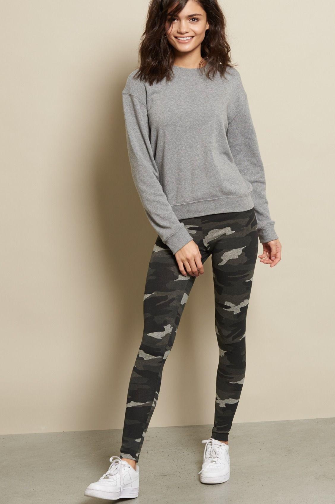 New Women/'s Camouflage Army Print Leggings Pants Trouser Top /& Cap Long Sleeve