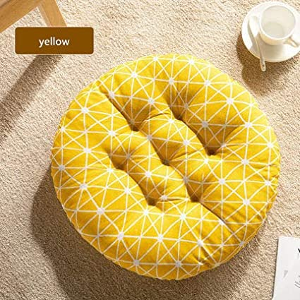 "Cheoalfa Cheeseland19.7round Pillow Floor Pillow Japanese Futon Chair Pad Tatami Floor Cushion Yellow Cushion for Living Room Balcony Outdoor Children's Play Area (Yellow, XL-21.7"")"