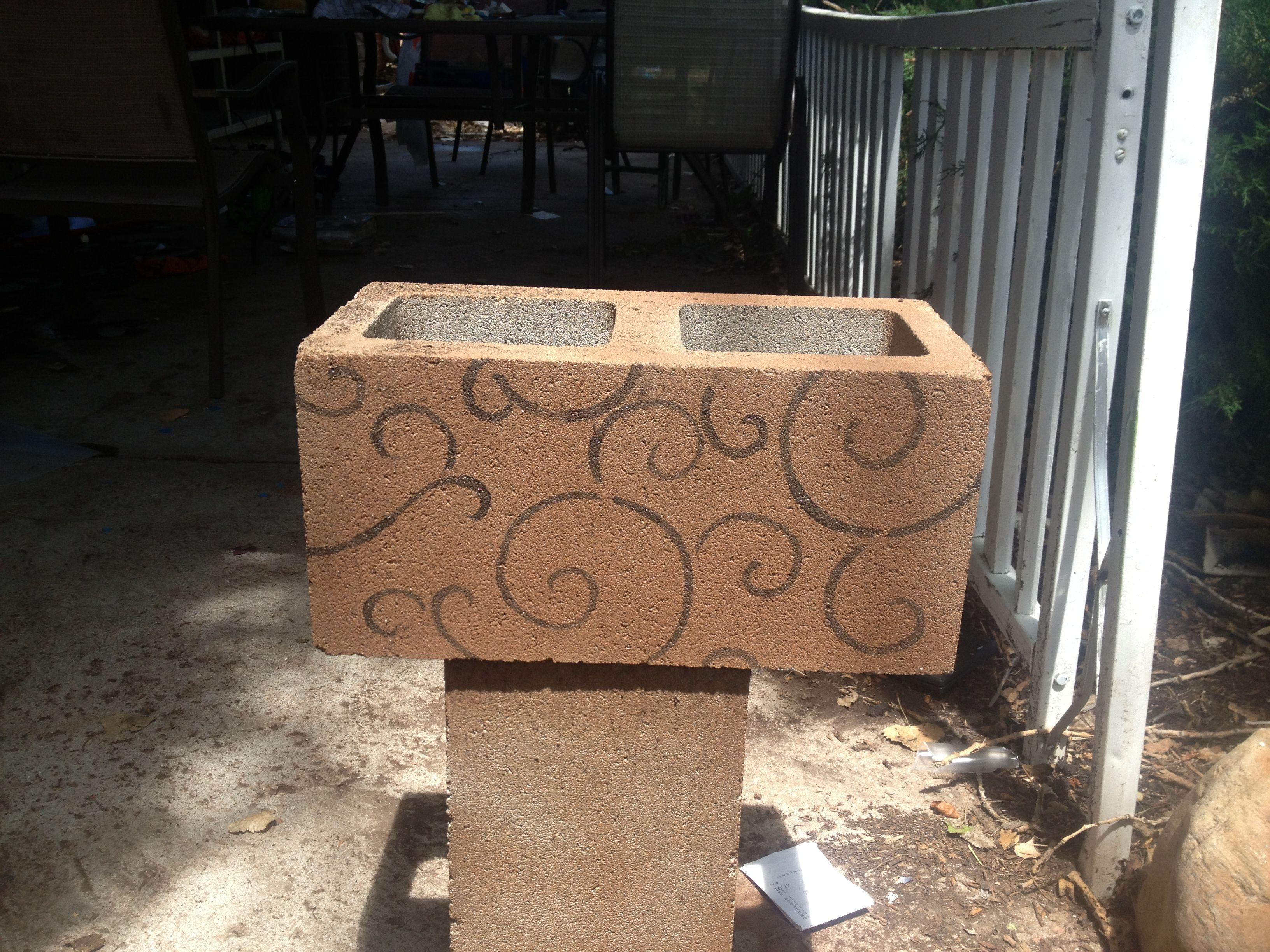 Got The Idea From Pinterest I Added My Own Idea Spray Paint Stencil Use Them For Flower Boxes Instead Of Cinder Block Garden Flower Boxes Concrete Crafts