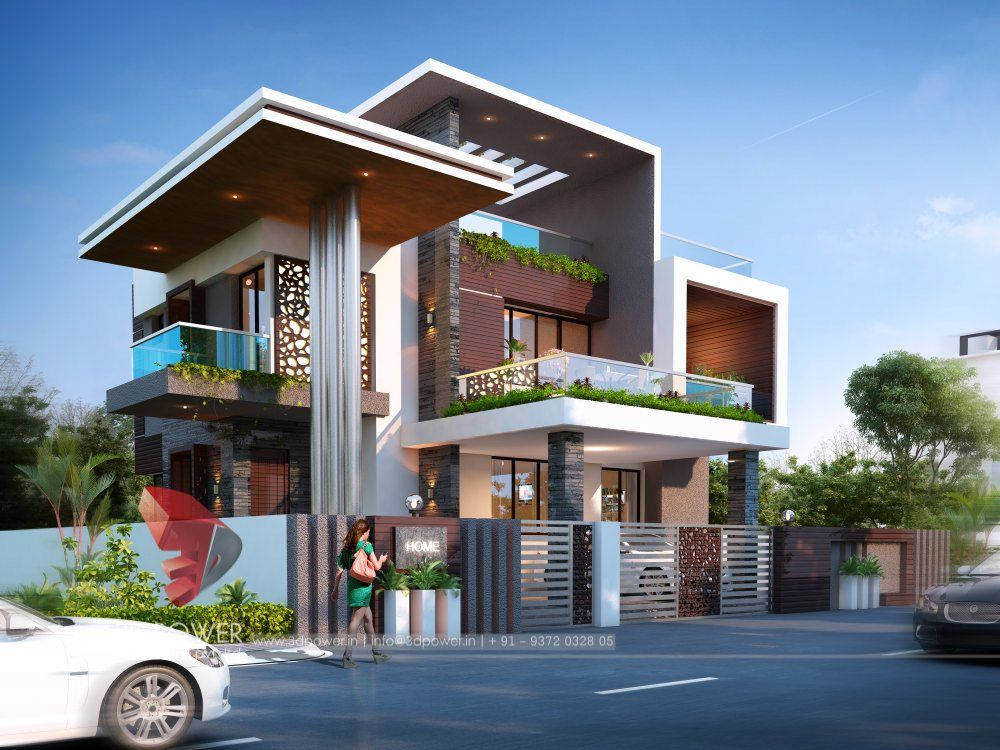 3D Exterior Design Rendering Of A Bungalow | Modern ...