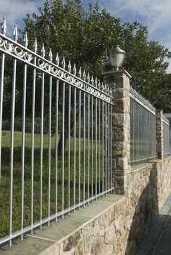 Short Stone Wall With Wrought Iron Similar To This Not As Tall No Pillars And Fence Installed
