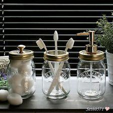 Kilner Mason Jar Vintage Bathroom Accessory Gift Set In Glass With Gold Tops