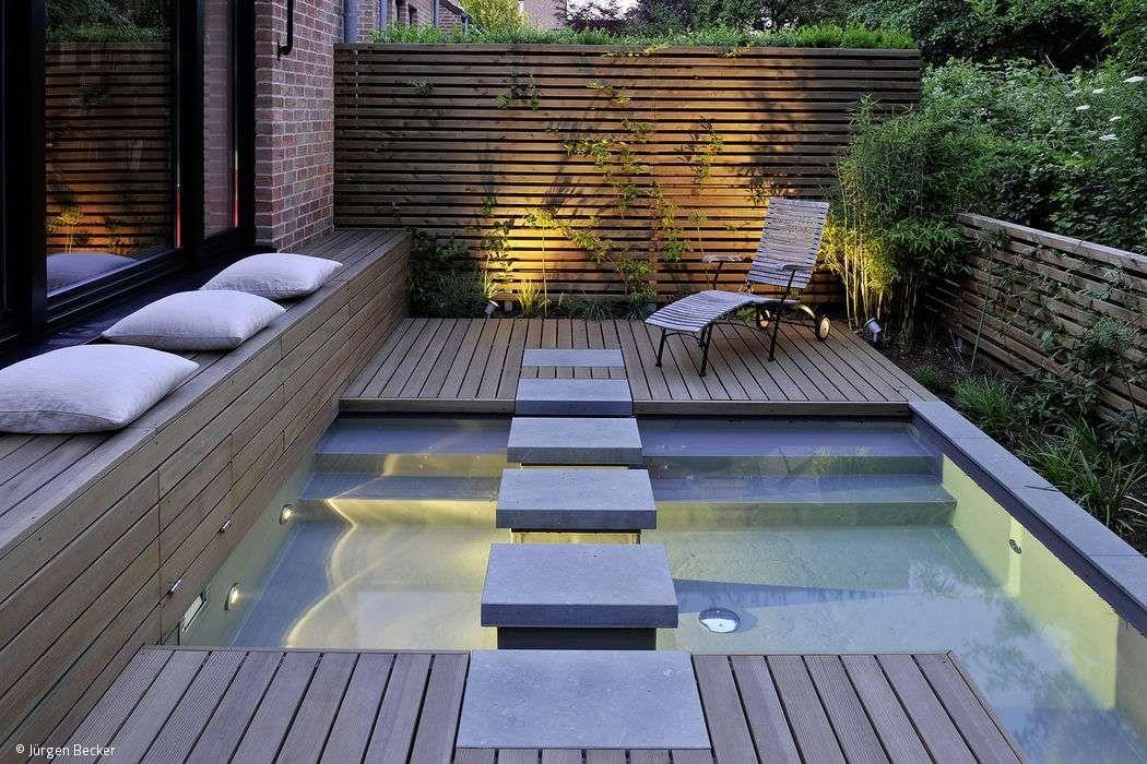 Auch auf kleinster Fläche ist es möglich, einen vielseitigen Außen - gartengestaltung reihenhaus pool
