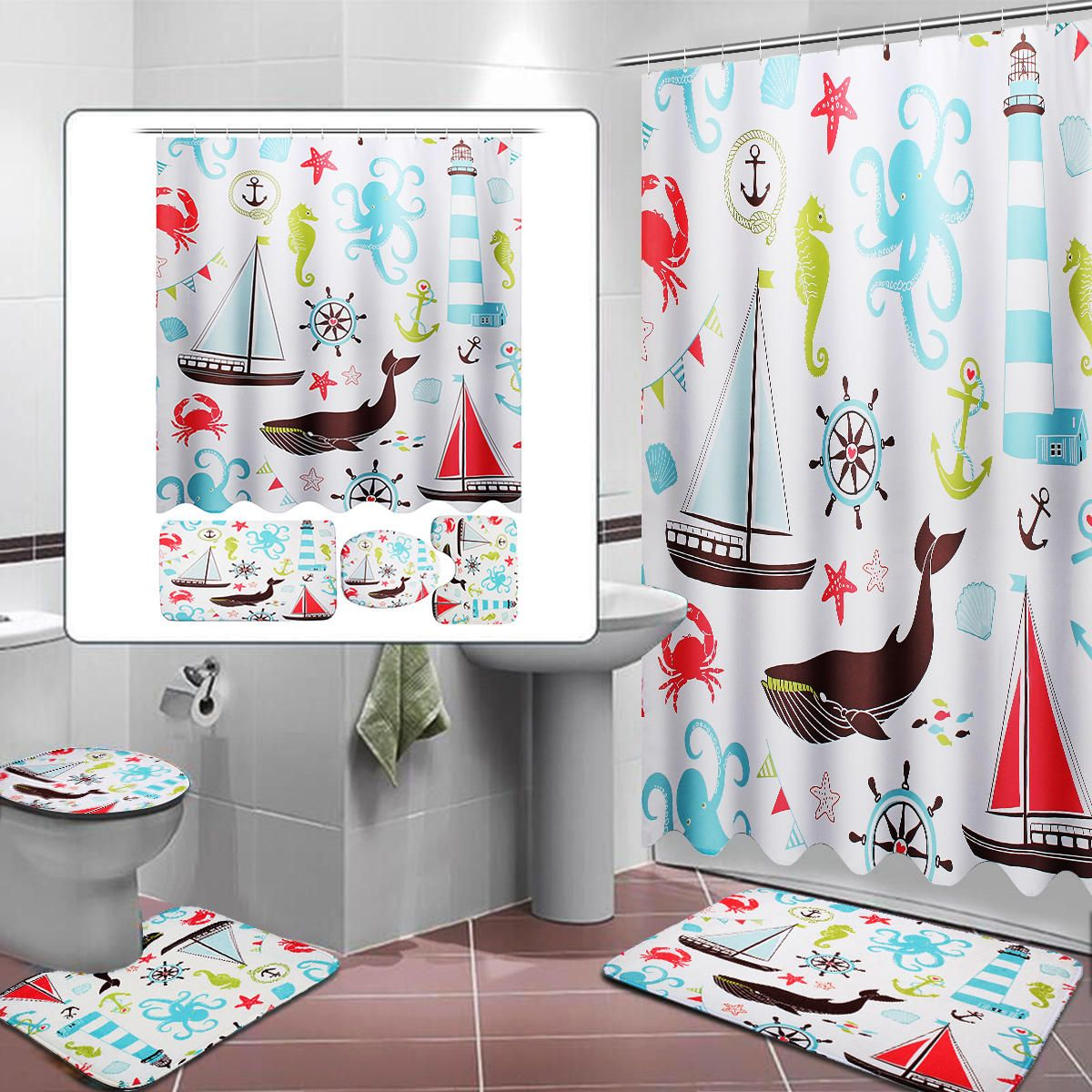 Marine Animal Bathroom Shower Curtain Toilet Cover Bath Mat Non