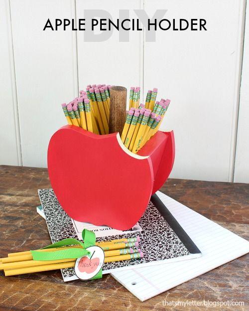 Diy Apple Pencil Holder Woodworking Pinterest Kinderbasteleien