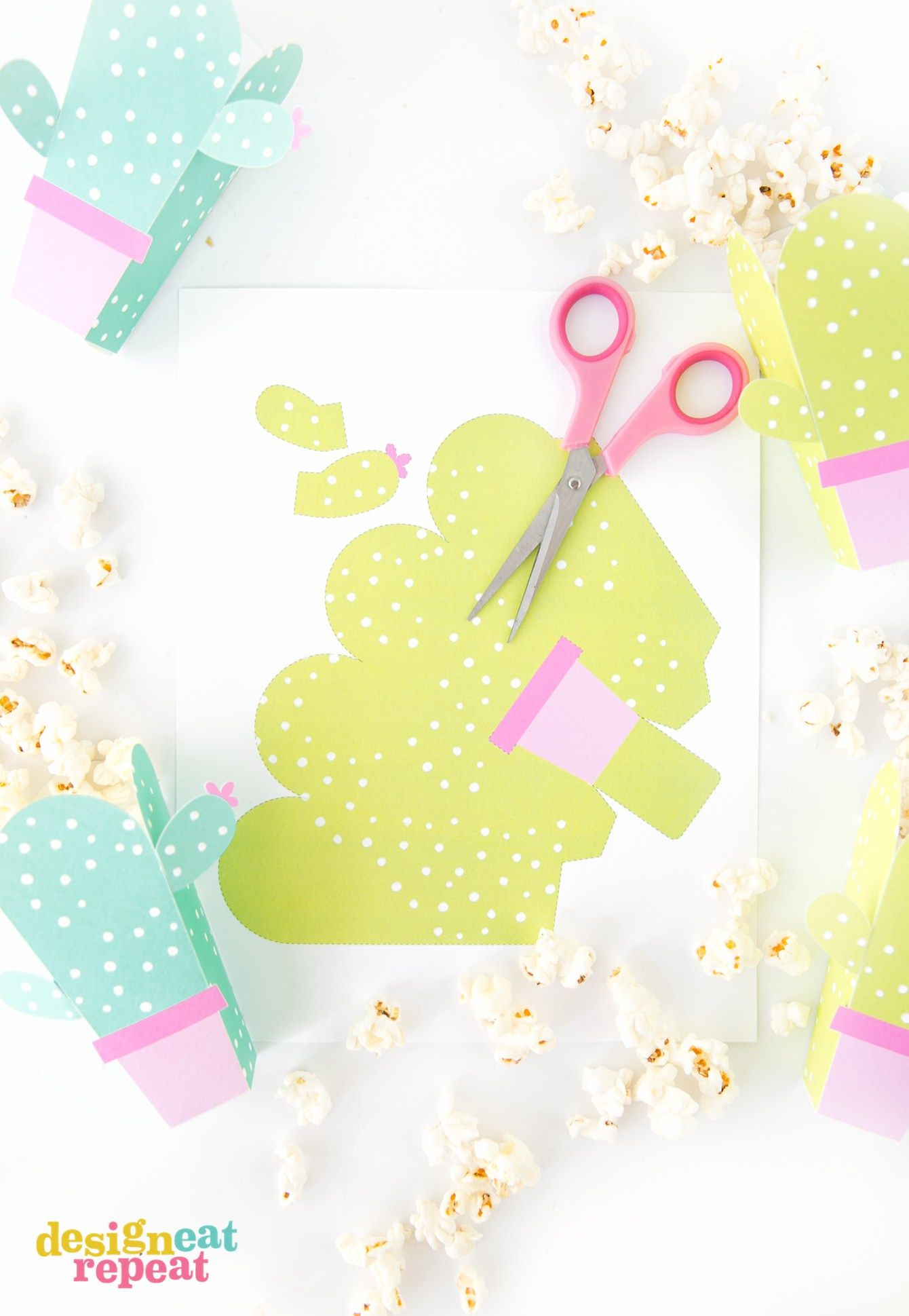 Can these be any cuter?! Cactus popcorn boxes! Get the free popcorn ...