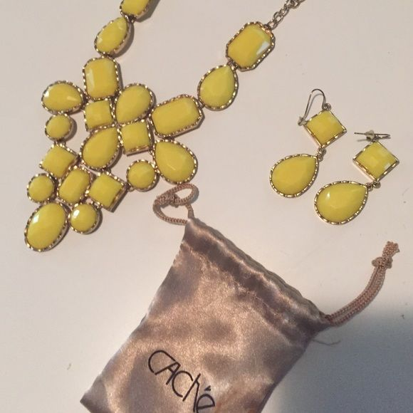 Cache earrings & necklace Yellow & gold statement necklace and drop earrings.  Worn twice.  Includes earring bag. Cache Jewelry Necklaces