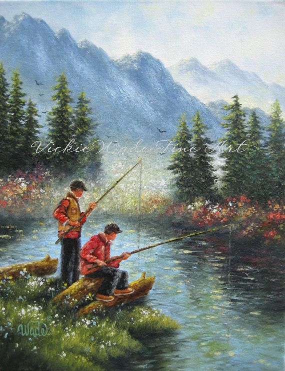 Two Brothers Fishing Original Oil Painting Two Boys Fishing Etsy Fish Painting Original Oil Painting Painting