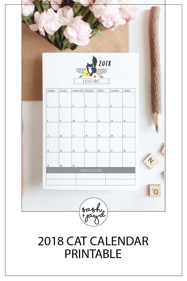 Printable Cat Calendar | 1 stuff to print | Cat calendar, 2018