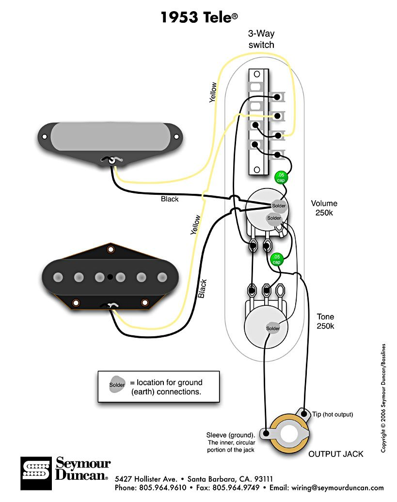542a6c7961c15e49e17f2ffe55271b8d 1953 tele wiring diagram (seymour duncan) telecaster build fender tele wiring diagram at virtualis.co