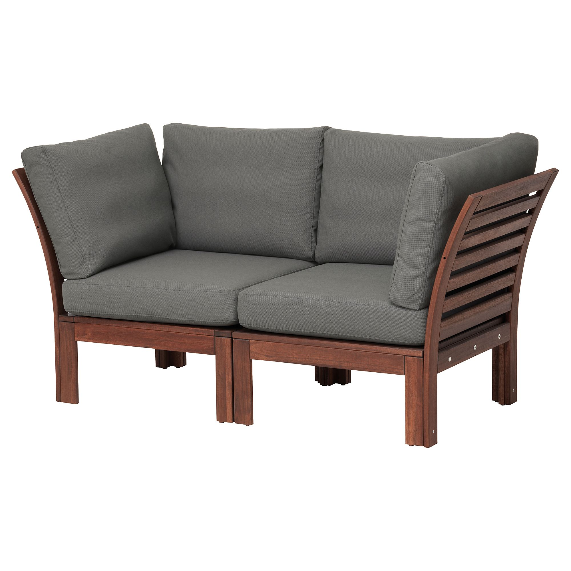 ÄPPLARÖ 2seat modular sofa, outdoor brown stained