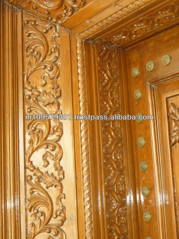 Main Entrance Solid Wood Hand Carved Double Door View
