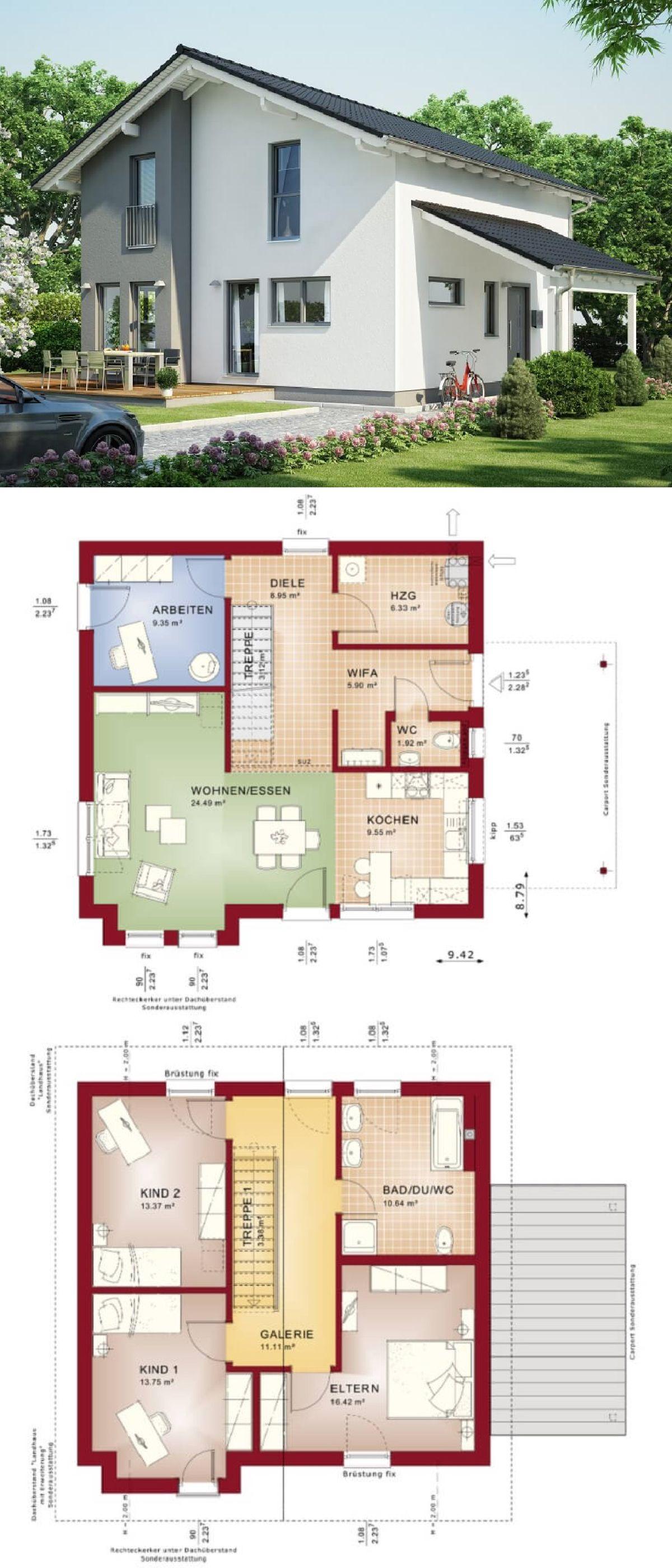 Einfamilienhaus Modern Mit Galerie U0026 Satteldach Architektur   Haus Bauen  Grundriss Fertighaus Evolution 136 V7 Bien