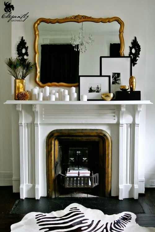 Very Nice Mantel Style Grouping Of Candles On One Side Two Black And White Frame On The Other And A Beautiful Old Home Trendy Living Rooms Living Room Colors