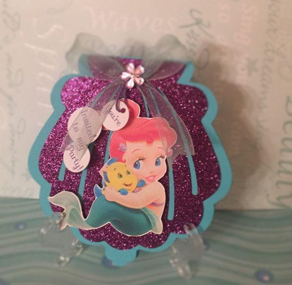 Disney Baby Ariel Seashell Invitation Cumpleaños De Sirena