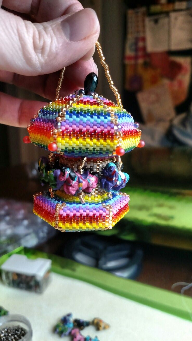Beaded Carousel Horse Ornament Designed By Kate P How To Make Beads Beaded Ornaments Bead Art