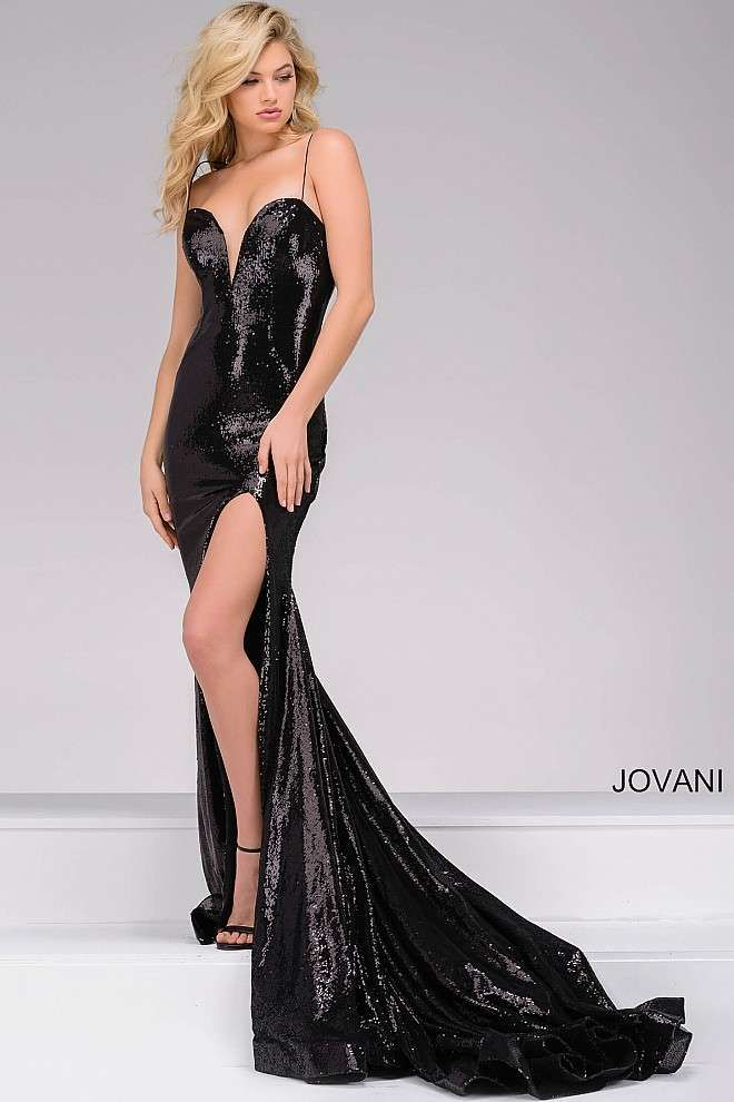 501aebaa0c804 Sexy black fully sequined floor length fitted dress features spaghetti  straps, a plunging sweetheart neckline, a thigh high slit and a train.