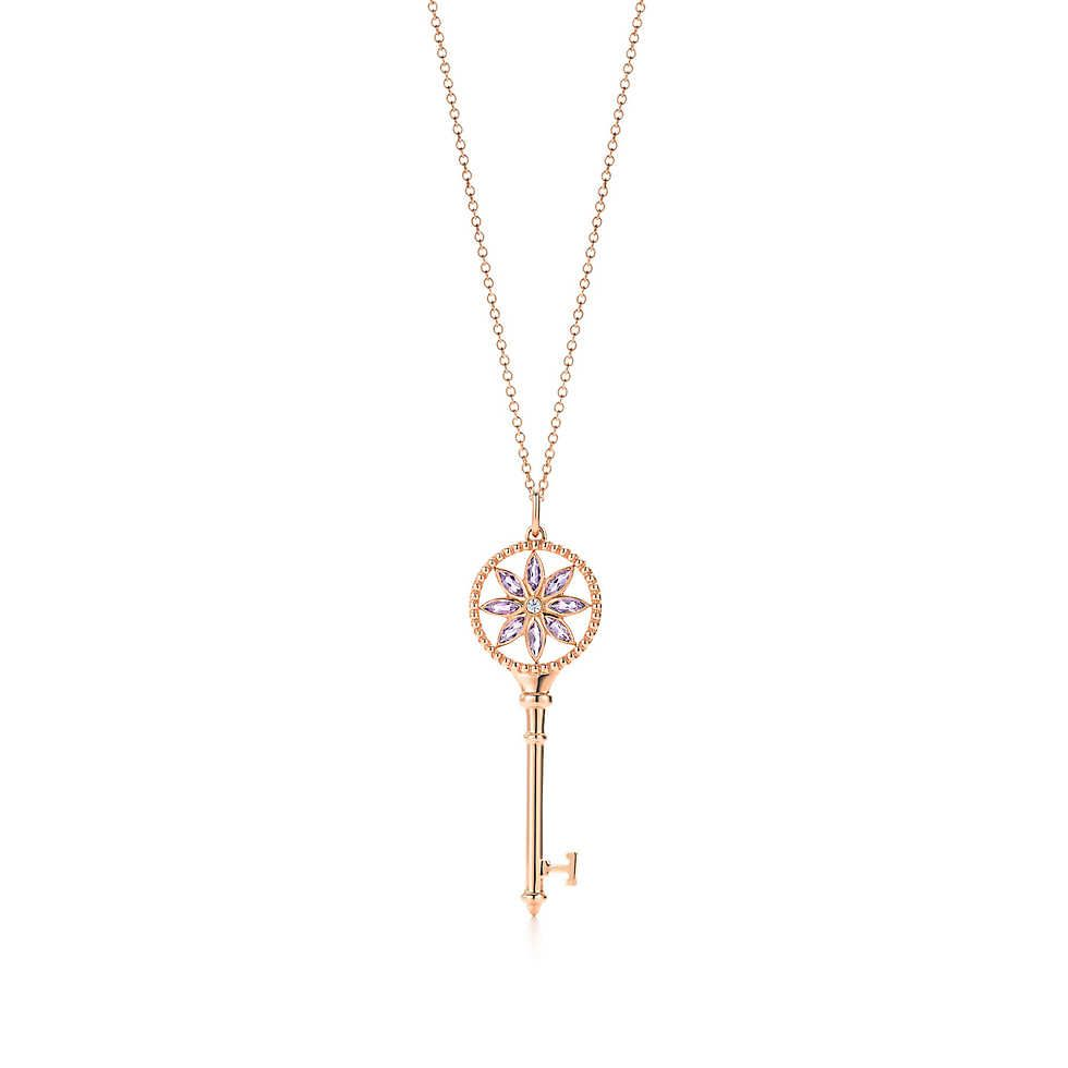 f5d6fb9a9 Tiffany Keys daisy key in 18k rose gold with amethysts and diamonds on a  chain. | Tiffany & Co.