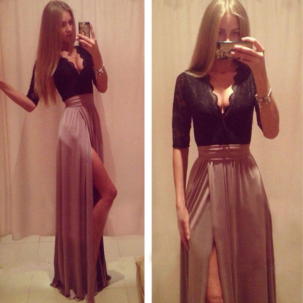 084382122 moda vestido de 2014 festa longo sexy v profundo cuello corte alto elegante  manga larga vestido de noche vestidos de noche fiesta ef15 en Vestidos de  Noche ...